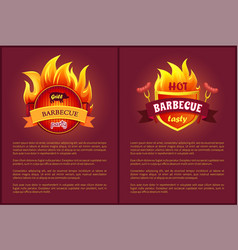 grill barbecue party and tasty bbq sausages vector image