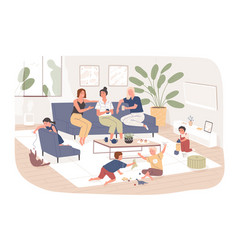 Group female friends sit on comfy sofa drink vector