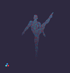 Gymnast man posing dancing dotted silhouette vector