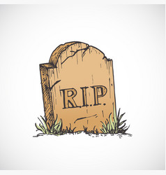 hand drawn colorful halloween tombstone vector image