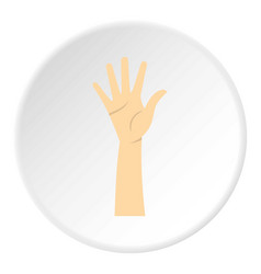 Hand showing five fingers icon circle vector