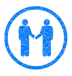 Handshake persons rounded grainy icon vector