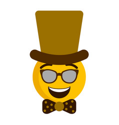 happy emoji with a gentleman hat vector image