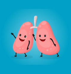 happy fun cute lungs flat cartoon vector image