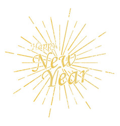 happy new year inscription with burst vector image