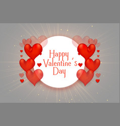 happy valentines day 3d hearts beautiful vector image