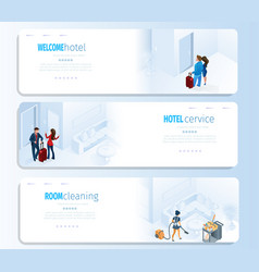 hotel services for travel banners set vector image