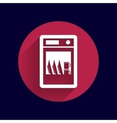 Icon dishwasher appliance kitchen clean vector
