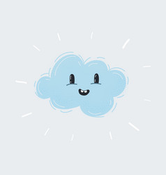 icon light blue fluffy smiling cloud vector image