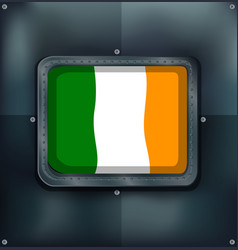 Ireland flag on square badge vector