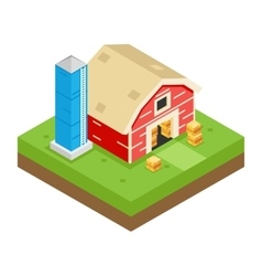 Isometric Barn Stack Storage Silo 3d Icon Symbol vector