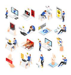 isometric cyber bullying set vector image