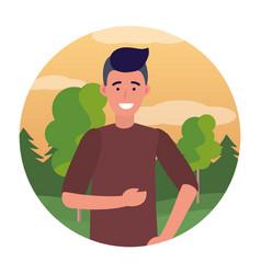 Man portrait avatar round icon vector