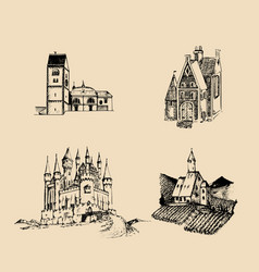 Medieval landscapes set hand vector
