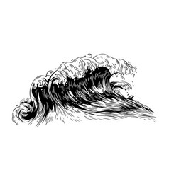monochrome drawing sea or ocean wave with vector image