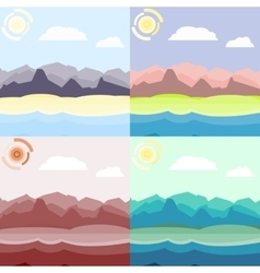 Morning and day landscapes set vector image
