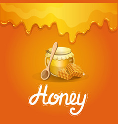 Natural honey poster in cartoon style vector