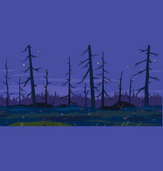 night deadly forest game background vector image