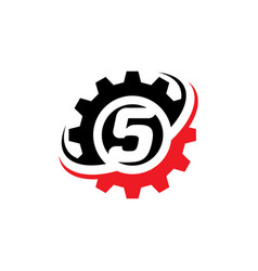 number 5 gear logo design template vector image