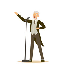 Opera singer man wearing an elegant tuxedo vector