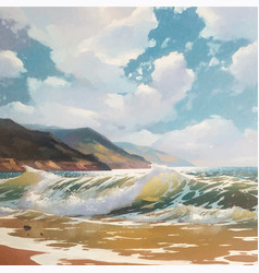 Original oil painting of sea and beach on vector