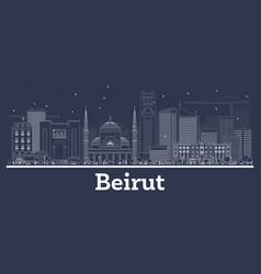 outline beirut lebanon city skyline with white vector image
