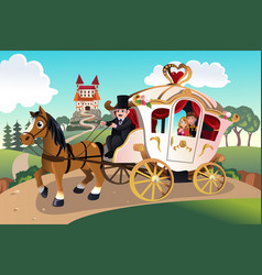 prince and princess in horse wagon vector image