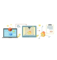 Printer Technology Icon Flat Design vector