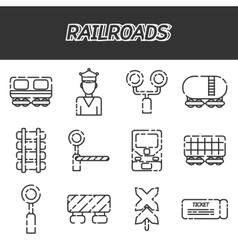 Railroads icons set vector image