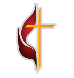 red and yellow methodism symbol on a white vector image