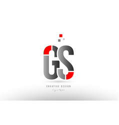 Red grey alphabet letter gs g s logo combination vector