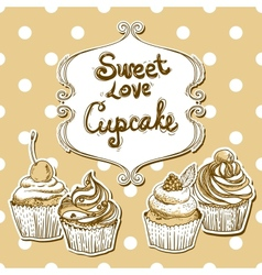 Retro frame with cupcake vector image