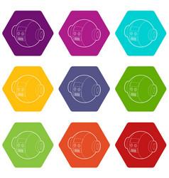 robotic ball icons set 9 vector image