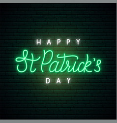 Saint patricks day neon sign shiny lettering vector