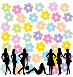 sale concept with fashion women black silhouettes vector image