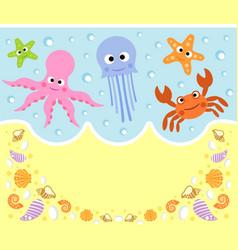 Sea animals cartoon background card vector