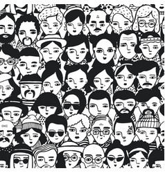 Seamless pattern of crowd different people woman vector