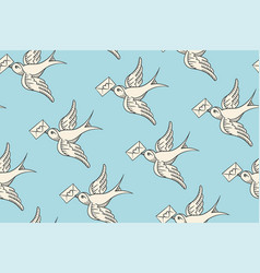 Seamless pattern with old school vintage bird and vector