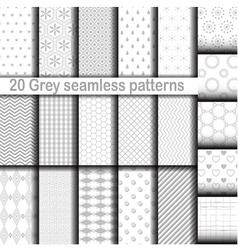 set 20 gray seamless patterns vector image