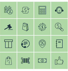 set of 16 e-commerce icons includes gavel vector image