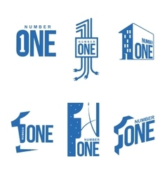 Set of blue and white number one logo templates vector image