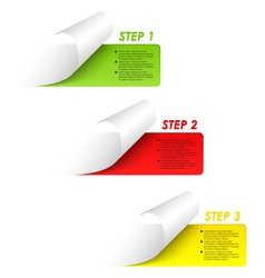 Set of colorful sample steps stickers vector image