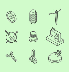 Sewing flat outline isometric icons vector