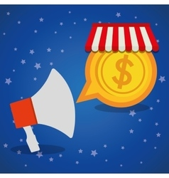 Shopping online megaphone marketing coin star blue vector