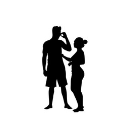 silhouette couple man speak on cell smart phone vector image