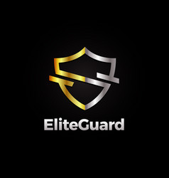silver and gold elite shield logo template vector image