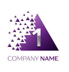 Silver number one logo in purple pixel triangle vector