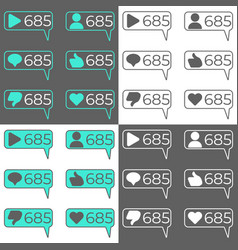 social network statistic counters set vector image