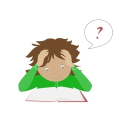 Studying student girl Thinking schoolgirl vector