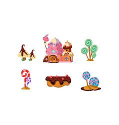 Sweet candy land cute cartoon elements of fantasy vector